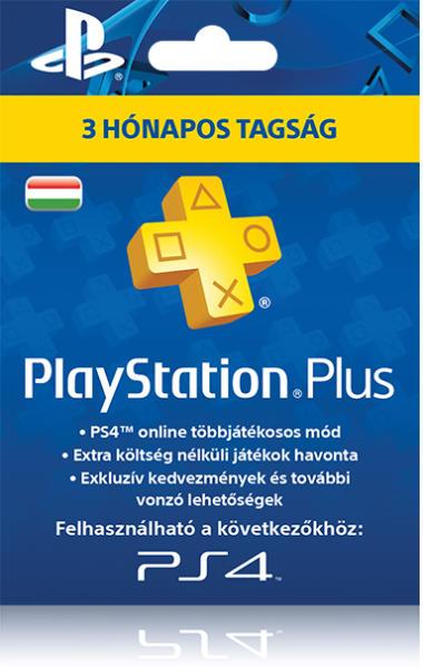PlayStation Plus 3 hónapos tagság (magyar profilhoz PSN ) - PlayStation 4 Kiegészítők