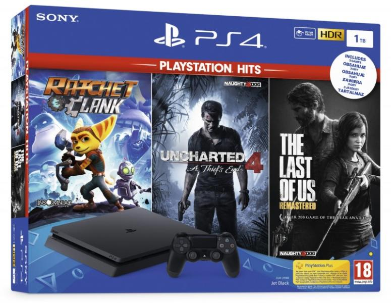 PlayStation 4 Slim 1 TB + The Last of Us + Uncharted 4 + Ratchet and Clank