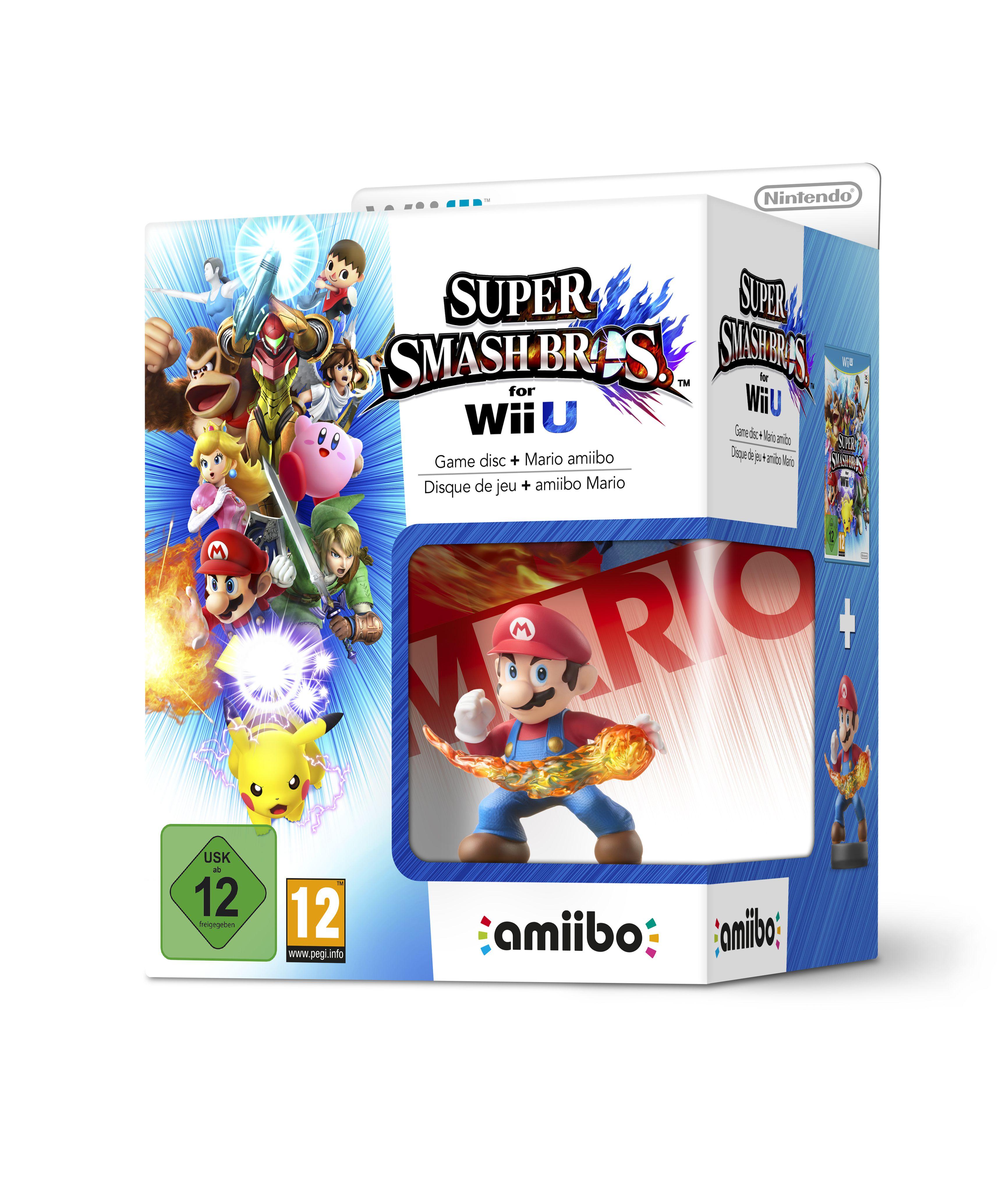 Amiibo Super Smash Bros For Wii U Game Disc+Mario Amiibo