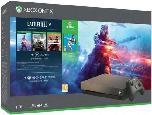 Microsoft Xbox One X 1TB Gold Rush Special Edition + Battlefield V Deluxe Edition + FIFA 19