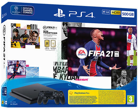 Sony PlayStation 4 Slim 500GB+ FIFA 21 + DualShock 4 Controller